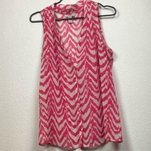 Pink And White Banana Republic Tank Top